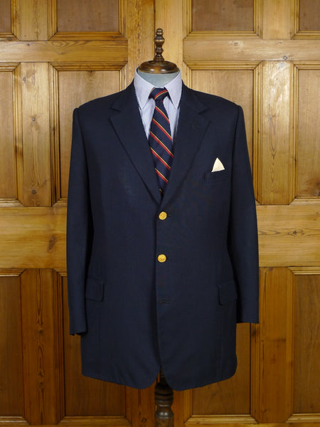 17/2263 (dc) 2005 henry poole savile row bespoke navy blue wool & mohair blazer w/ gold stag buttons 42 long