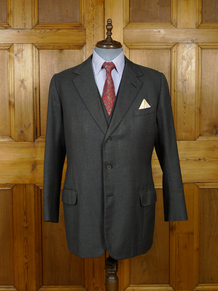 17/2269 vintage savile row bespoke grey worsted suit jacket & waistcoat (no trouser) 42 regular