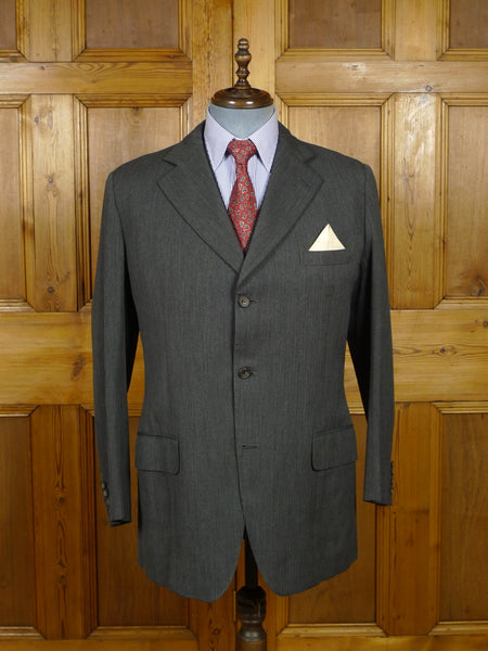 17/2270 vintage henry poole savile row bespoke grey worsted suit jacket & waistcoat (no trouser) 41 long
