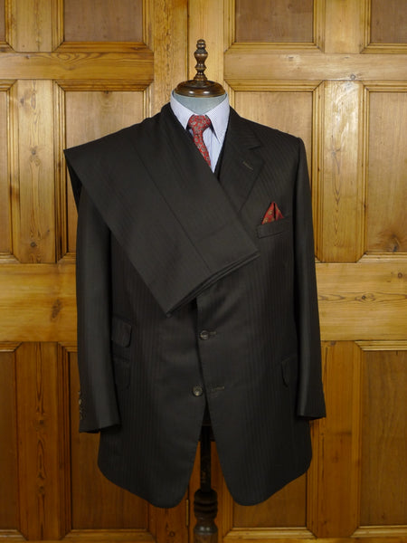 17/2181 (dc) superb vintage henry poole savile row bespoke brown herringbone stripe 3-piece worsted suit 43 regular to long