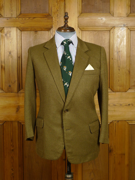 17/2286 vintage bespoke tailored tan brown birds-eye weave wool & cashmere sports jacket blazer 42 short