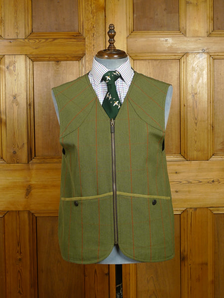 17/2306 immaculate barbour green windowpane check venetian wool shooting waistcoat vest gilet 43
