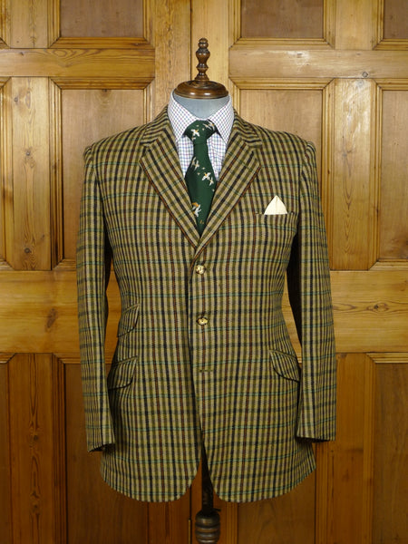 17/2310 wonderful vintage cavalry twill wp check hacking jacket w/ ghillie collar 41-42 regular
