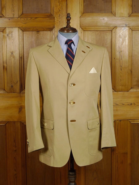 17/2313 superior daks tan beige cotton norfolk-style sports jacket w/ suede trims 42-44 regular