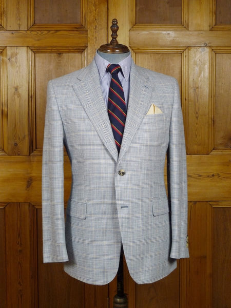 17/2321 immaculate superior daks wool silk & linen blue glen check lightweight sports jacket 42 regular