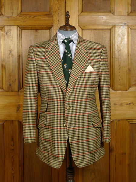 18/0023 vintage bespoke tailored heavyweight gun club check tweed jacket w/ elbow patches & staghorn buttons 44 regular