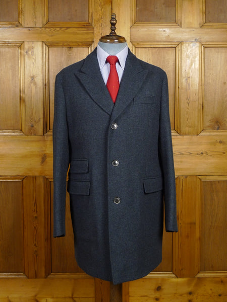 18/0027 nearly new hackett london blue twill luxury wool overcoat coat 44-45 regular