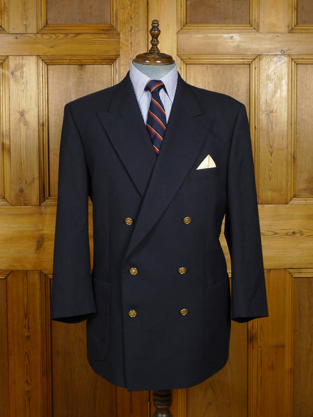 18/0065 near immaculate vintage burberry navy blue d/b worsted wool blazer 46 short