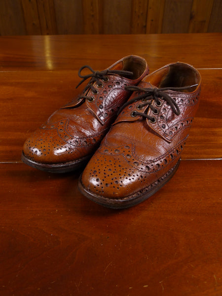18/0086 delightful 1950s 1960s vintage tan brown antelope skin brogue shoes uk 7.5
