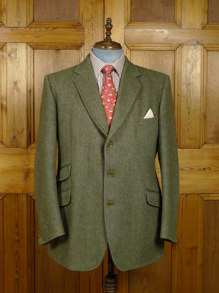 18/0133 trotter & deane green herringbone heavyweight tweed hacking style jacket 46 regular