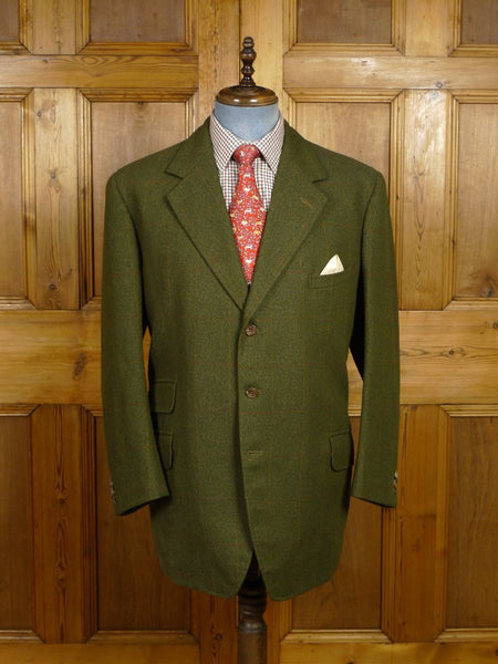 18/0131 near immaculate heavyweight bespoke tailored green windowpane check tweed jacket 46 regular
