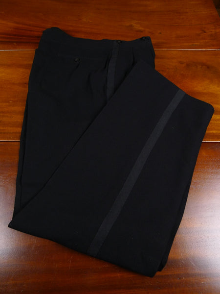 18/0138 near immaculate 1950 bernard weatherill savile row bespoke black herringbone barathea wool high rise evening trouser 33 short regular long