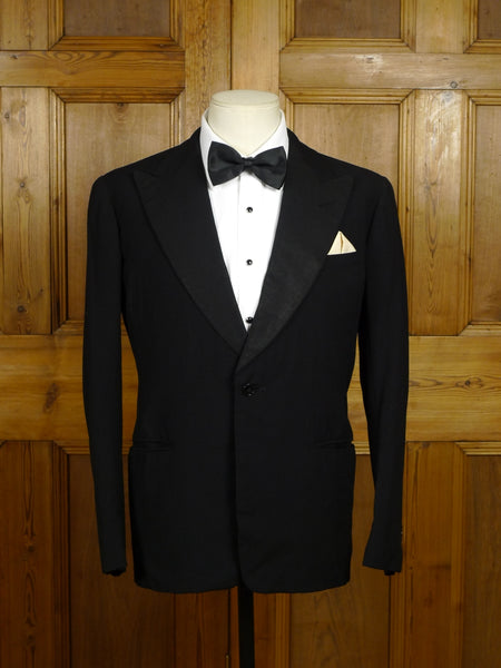 18/0139 vintage 1953 bernard weatherill savile row bespoke black herringbone barathea wool dinner jacket 37-38 short