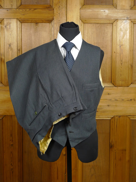 18/0142 vintage 1950s bernard weatherill savile row bespoke black / grey stripe morning trouser & waistcoat 36 short to regular