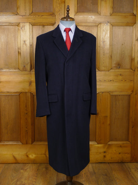 18/0148 near immaculate vintage cecil gee navy blue pure cashmere full-length overcoat 40-41 regular