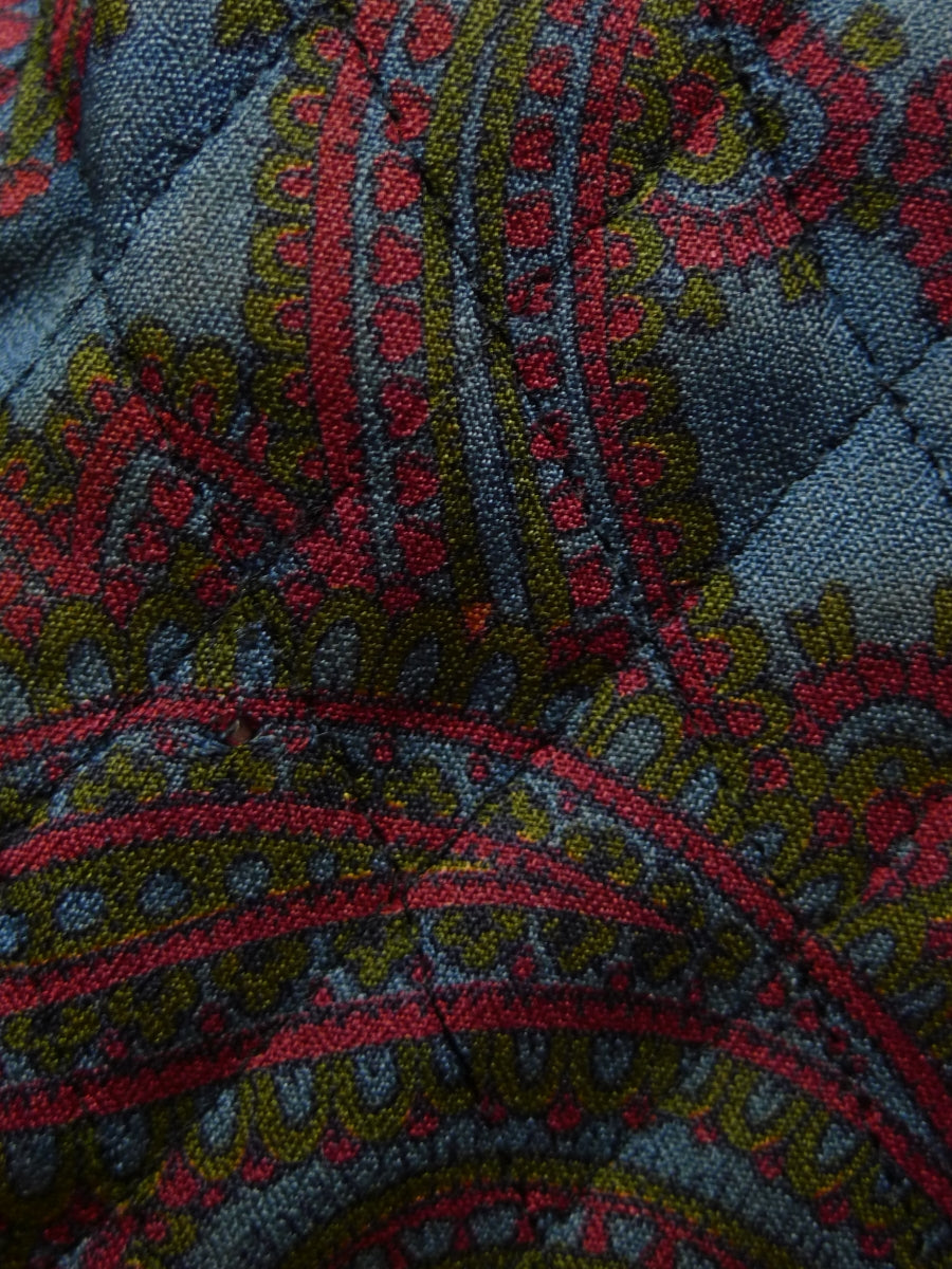 18/0155 genuine 1960s jaeger london blue / red & green paisley quilted smoking robe gown 38-40 *dry cleaned*
