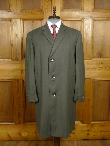 18/0173 exceptional 1950s vintage west of england twill green / red windowpane check overcoat coat 42-44 regular
