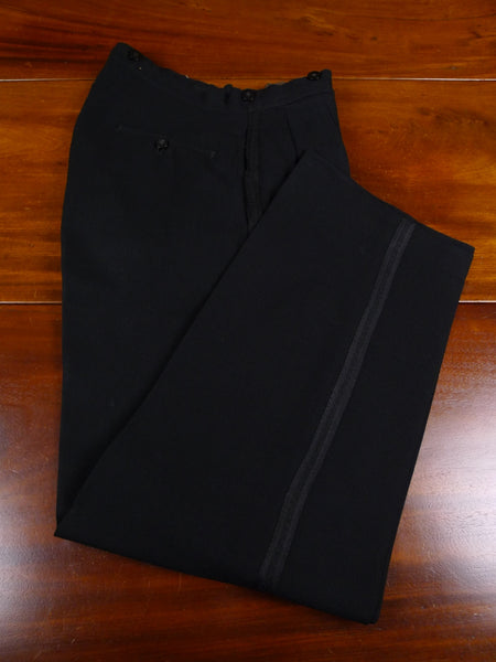18/0171 vintage 1930s 1940s savile row bespoke black fine herringbone barathea wool high-rise evening trouser 30 short regular