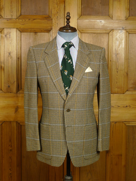 18/0184 near immaculate selfridges italian wool brown / blue check patch pocket tweed sports jacket 38-39 regular