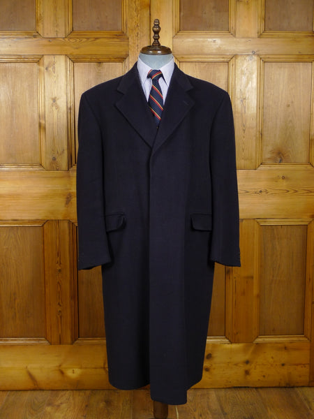 18/0189 vintage austin reed london navy blue 100% cashmere overcoat 42-44 regular
