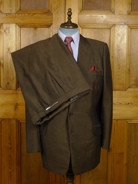 18/0193 slim-fit vintage 1983 savile row bespoke heavyweight mohair worsted 2-tone brown suit 43 long