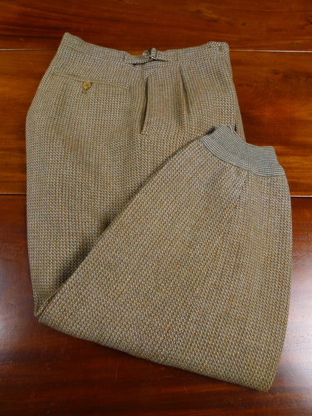 18/0194 delightful 1950s vintage hawkes savile row green / brown tweed breeks 32