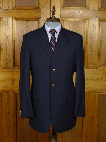 18/0191 excellent crombie navy blue wool & 1% cashmere blazer w/ brass buttons 40 regular
