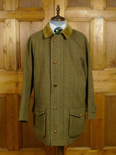 18/0198 vintage invertere green / red windowpane check derby tweed field jacket shooting coat 44-45