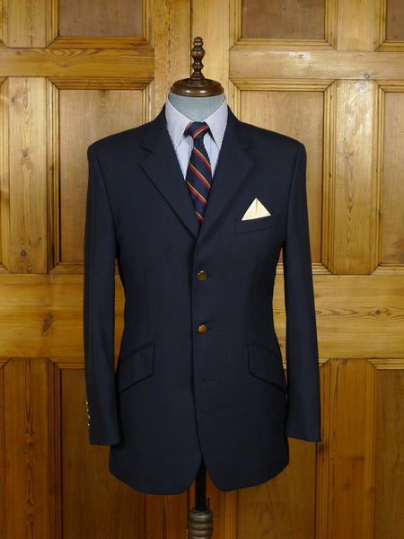 18/0188 hackett london navy blue 100% wool blazer w/ brass buttons 39 regular