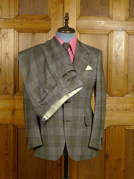 18/0197 vintage 1970s 1980s harrods london brown check wool mix suit w/ flared leg 38 short