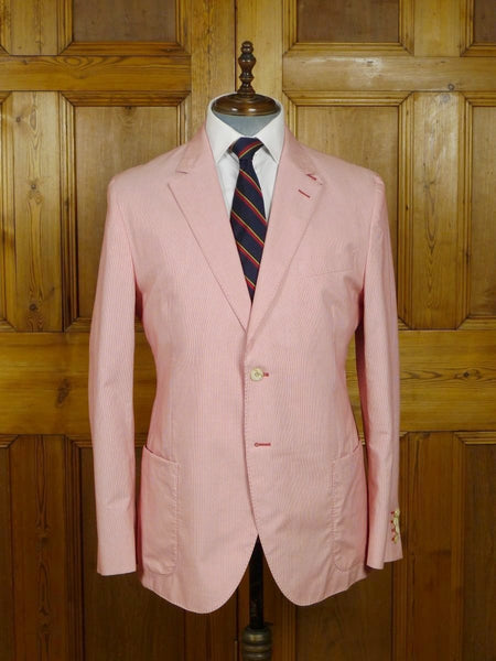 18/0190 near immaculate hackett london red candy stripe summer cotton boating blazer 43 regular