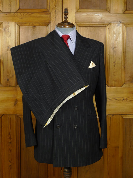 18/0195 vintage henry poole savile row bespoke heavyweight charcoal grey worsted pinhead-stripe d/b suit 41-42 long