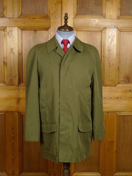 18/0199 vintage grenfell england green cotton mix field raincoat mac 41-42 short