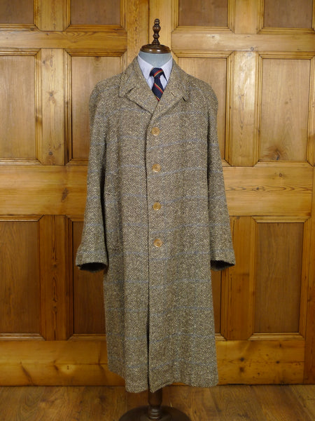 18/0202 delightful genuine WW2 era (CC41 Utility Mark) brown herringbone tweed overcoat 42 regular to long