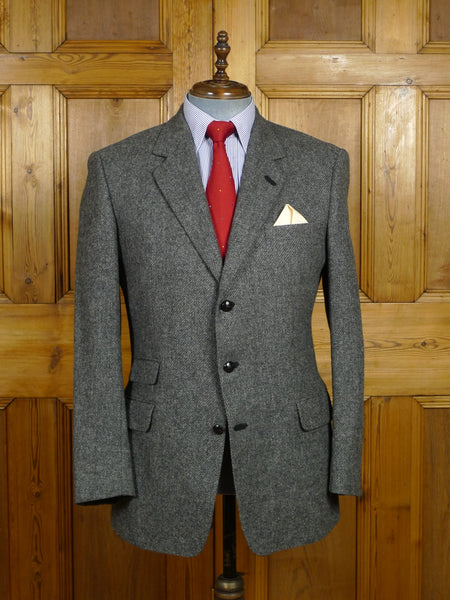 18/0208 vintage burberry grey wool twill tweed sports jacket w/ suede trims 41 regular