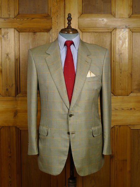18/0210 brioni luxury wool & 40% silk windowpane check lightweight sports jacket 44 regular