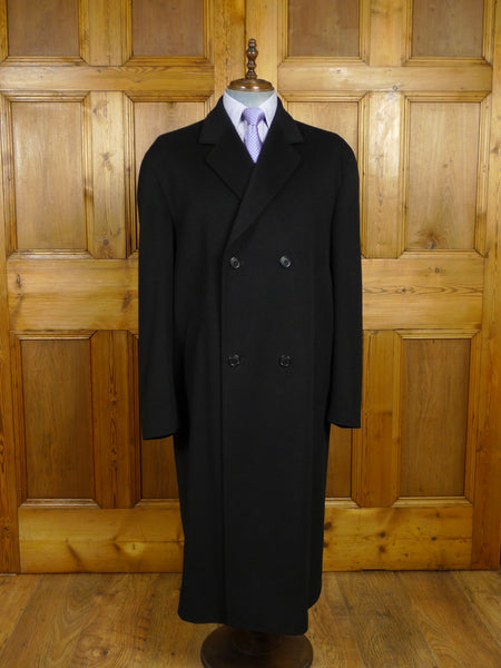 18/0212 stunning loro piana harrods full length black wool & 10% cashmere overcoat 46 regular