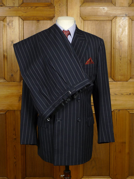 18/0211 kashket military tailor heavyweight dark navy blue d/b rope-stripe worsted suit w/ contrast linings 38-39 regular to long
