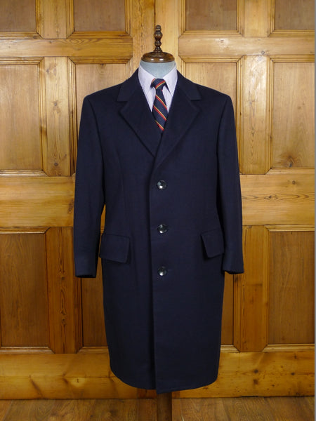 18/0214 immaculate vintage navy blue west of england wool overcoat 42 short