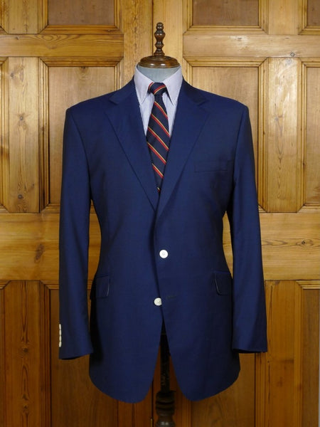 18/0215 richard james savile row half-canvas blue lightweight wool & 20% mohair blazer w/ mother of pearl buttons 45 long