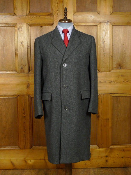 18/0218 vintage 1950s heavyweight grey west of england wool overcoat 41-42 regular to long
