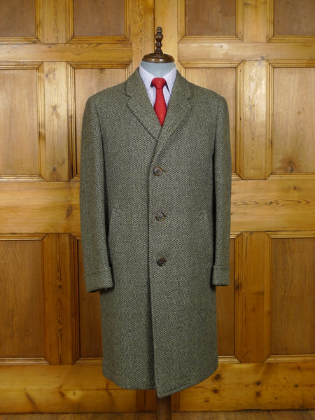 18/0219 near immaculate vintage chester barrie heavyweight twist tweed overcoat w/ tartan backing 40-42 regular