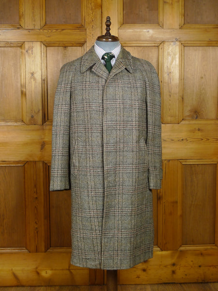 18/0217 vintage italian tailored twist tweed windowpane check raglan coat overcoat 40 regular