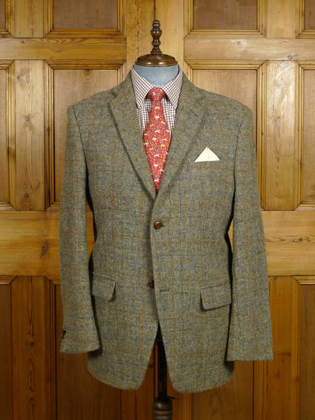18/0222 near immaculate modern harris tweed grey windowpane check sports jacket 44 regular
