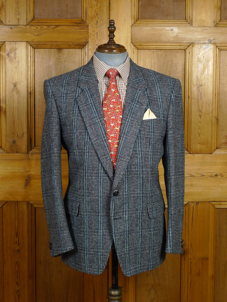 18/0225 superior quality grey / blue & red glen check harris tweed sports jacket 46 regular
