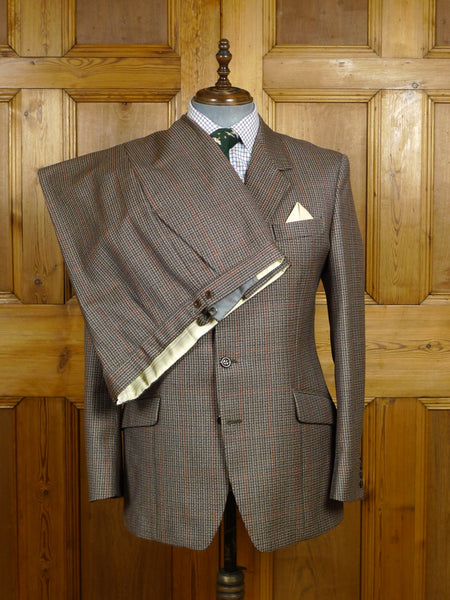 18/0224 near immaculate vintage reid & taylor heavyweight luxury worsted twist brown / red windowpane check suit 42 regular