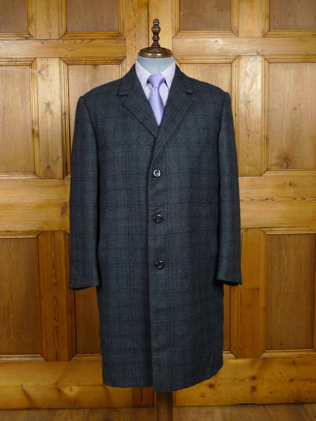 18/0216 immaculate french tailored blue windowpane check wool tweed overcoat 44-45 short to regular
