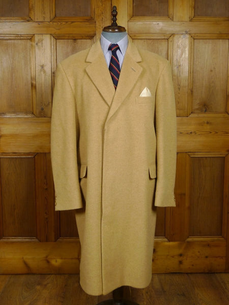 18/0234 stunning vintage aquascutum luxurious wool & 45% camelhair overcoat coat 50 extra long