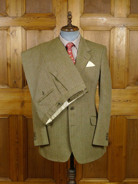 18/0248 vintage john g hardy heavyweight green windowpane check tweed suit 38-39 regular