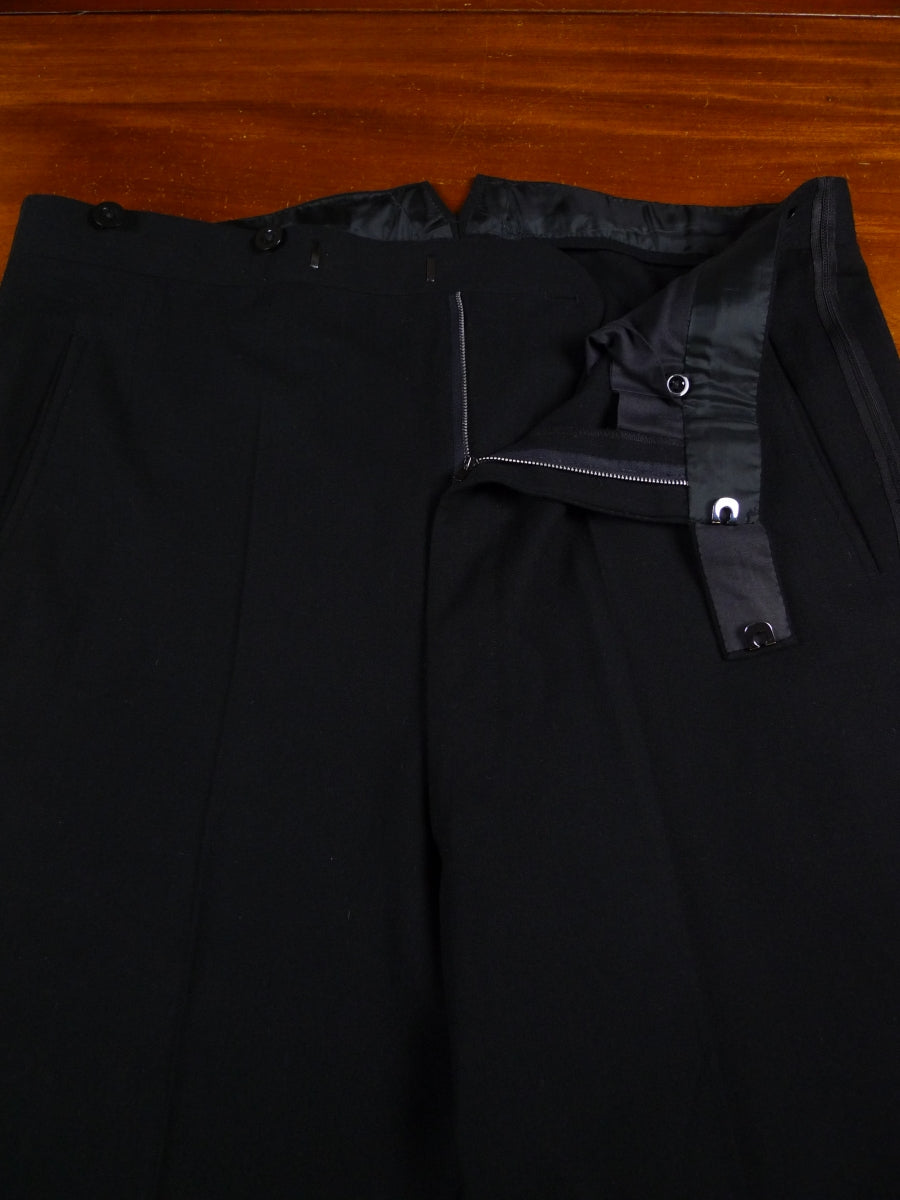 18/0265 superb vintage bespoke tailored high-rise black herringbone wool evening trouser 40 short